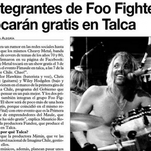 Gira Imagina Chile: Integrantes de Foo Fighters tocan gratis en Talca